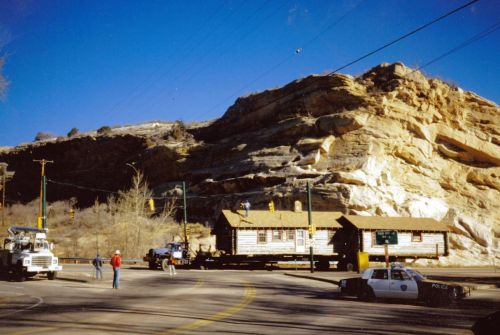 Cox Cabin on the move through Morrison in December 1987.